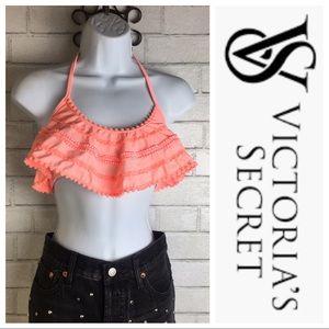 Victoria's Secret Flounce Lace Pom Pom Bikini Top